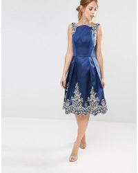 Chi Chi London - Blue Embroided Midi Dress With Premium Metallic Lace Hem - Lyst