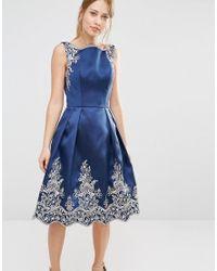 Chi Chi London | Blue Embroided Midi Dress With Premium Metallic Lace Hem | Lyst