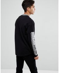 Jack & Jones Black Originals Long Sleeve T-shirt With Checkerboard Sleeve Print for men