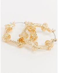 Золотистые Серьги-кольца С Узлом ASOS, цвет: Metallic