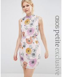 ASOS | Pink Mini Dress With High Neck In Floral | Lyst