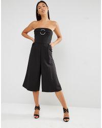 Lavish Alice | Black Bandeau Metal Ring Detail Culotte Jumpsuit | Lyst