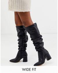 London Rebel Wide Fit Pointed Block Heel Knee Boots-black