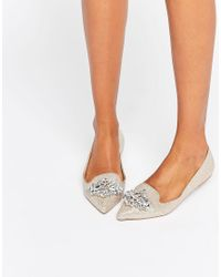 Dune Metallic By Dune Lou Lou Embellished Pointed Flat Shoes