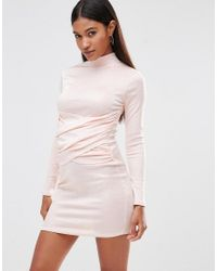 Club L - Pink High Neck Bodycon Dress With Wrap Front Detail - Lyst