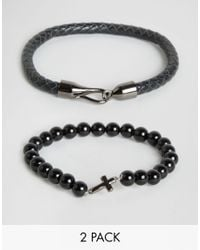Simon Carter | Black Onyx Cross Beaded & Leather Bracelets In 2 Pack Exclusive To Asos for Men | Lyst