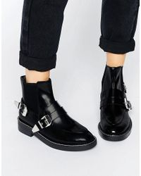 ASOS Black Antares Leather Chelsea Western Ankle Boots