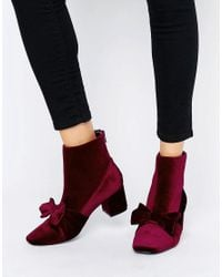 ASOS Brown Rayal Velvet Bow Ankle Boots