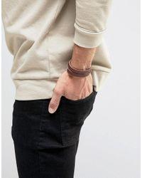 ASOS - Leather Wrap Bracelet In Brown for Men - Lyst