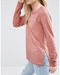 ASOS - Pink Longline Top In Oil Wash With Seam Detail - Lyst