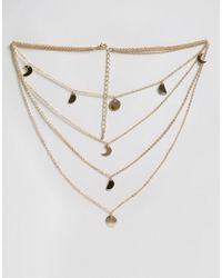 ASOS - Metallic Mini Shape Multirow Choker Necklace - Lyst