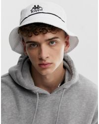 Kappa White Authentic Bucketo Bucket Hat With Embroidered Logo for men