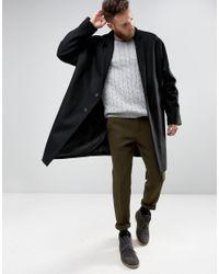 ASOS - Natural Slim Suit Pants In Khaki Harris Tweed 100% Wool With Real Leather Lapel for Men - Lyst