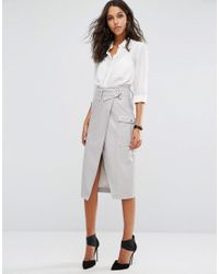 ASOS   Black Leather Look Pencil Skirt With Belted Waistband And Pockets   Lyst
