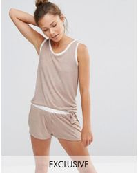 Chelsea Peers | Natural Vest And Short Pj Set | Lyst