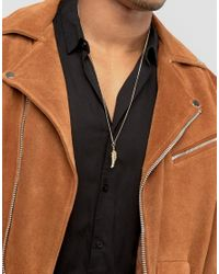 ASOS - Brown Feather Necklace In Burnished Gold for Men - Lyst