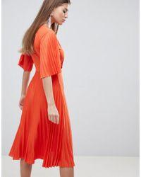 ASOS - Orange Pleated Kimono Sleeve Midi Dress - Lyst