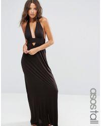 ASOS   Black Jersey Halter Maxi Beach Dress   Lyst