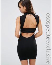 ASOS   Black Sleeveless Bodycon Dress With High Neck & Open Strap Back   Lyst
