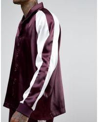 ASOS - Purple Loungewear Satin Pyjama Bottoms With Cut & Sew for Men - Lyst