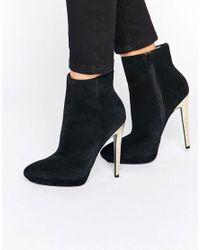 Faith   Black Solo Felix Gold Heeled Ankle Boots   Lyst