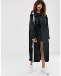 Adidas Originals Black Tlrd Three Stripe Duster Coat