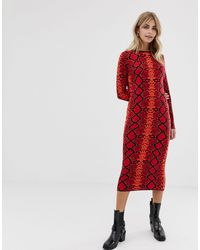 ASOS Red Snake Pattern Midi Dress