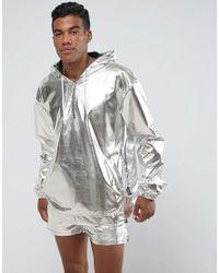 Jaded London Metallic Overhead Windbreaker Jacket In Silver Foil for men