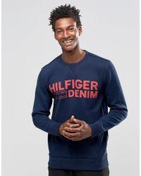 Hilfiger Denim Blue Sweatshirt With Logo Print In Navy for men
