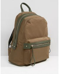 Pieces - Green Nylon Minimal Structured Backpack In Khaki - Lyst