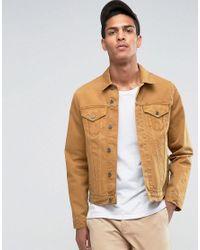 Lyst Asos Slim Denim Jacket In Mustard In Yellow For Men