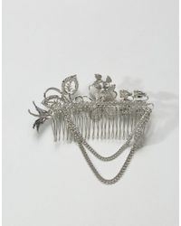 ASOS - Metallic Embellished Jewel & Chain Hair Clip - Lyst