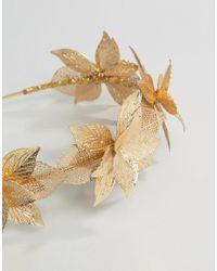ASOS - Metallic Statement Pretty Leaf Headband - Lyst