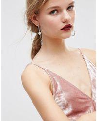 ASOS - Metallic Safety Pin Hoop Earrings - Silver - Lyst