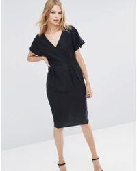 ASOS | Black Wiggle Dress With V-front And V-back | Lyst