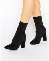 Missguided Black Pointed Toe Neoprene Heeled Ankle Boot