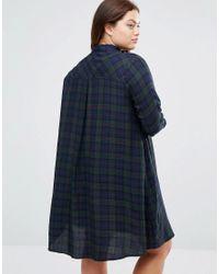 ASOS - Blue Check Shirt Dress - Multi - Lyst
