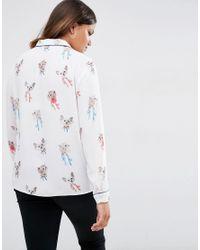 ASOS - Multicolor Cat Print Pyjama Blouse - Lyst