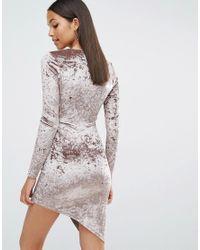 Club L Brown Crushed Velvet Wrap Over Long Sleeve Dress