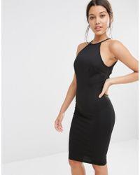 Missguided Black Lace Trim Open Back Bodycon Dress
