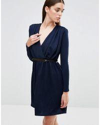 Twin Sister Blue Long Sleeve Plunge Belted Skater Dress