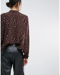 Just Female Brown Blouse In Leopard Print