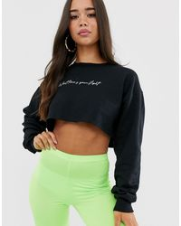 In The Style Black What Times Your Flight? Slogan Cropped Sweater