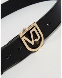 Versace Jeans Belt With Metal Shield Buckle - Black