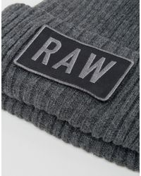 G-Star RAW Gray Raw Beanie for men