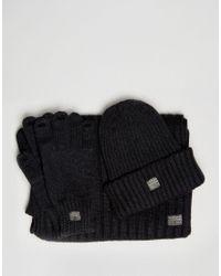 G-Star RAW Gray Beanie Scarf Gloves Gift Set for men