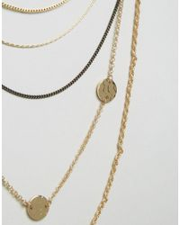 Pieces - Metallic Paulina Long Necklace - Lyst