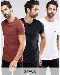 ASOS 3 Pack T-shirt With Logo Save 13% In White/black/red for men