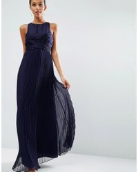 ASOS | Blue Wedding Pleated Maxi Dress With Ruched Detail | Lyst