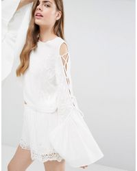 Alice McCALL White A Love Like That Embroidery Cold Shoulder Detail Top